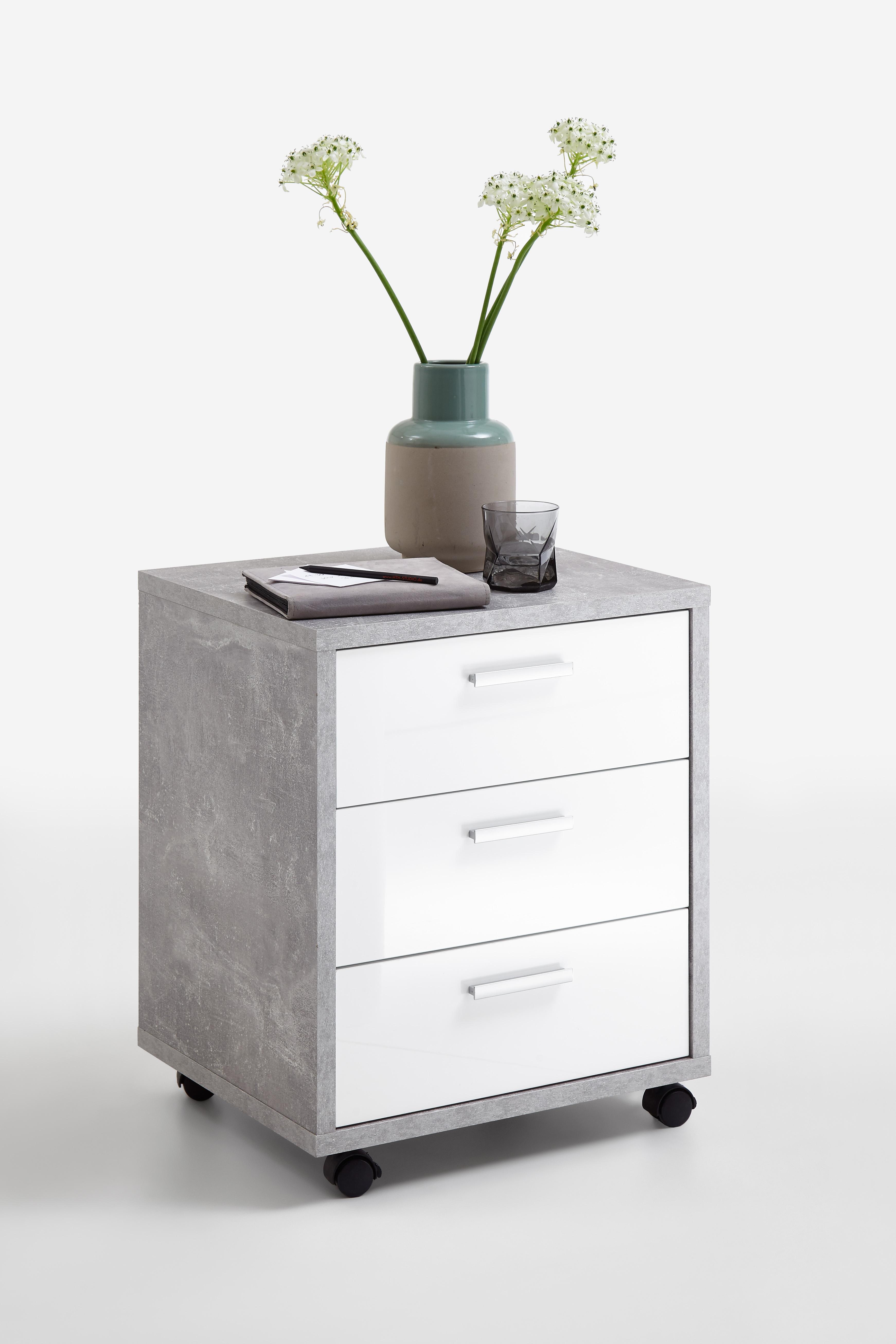 fmd rollcontainer brick 2 hochglanz b roschrank rollwagen schubladen 2 farben ebay. Black Bedroom Furniture Sets. Home Design Ideas