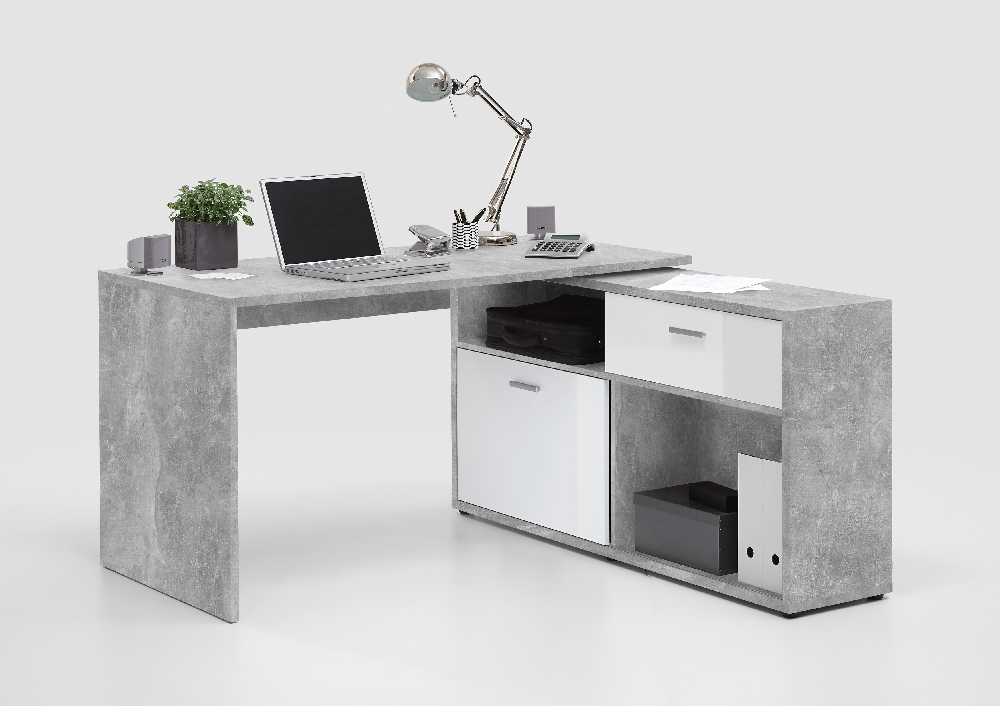 Winkelschreibtisch weiß hochglanz  FMD Winkelschreibtisch Diego 1 Bürotisch Schreibtisch ...