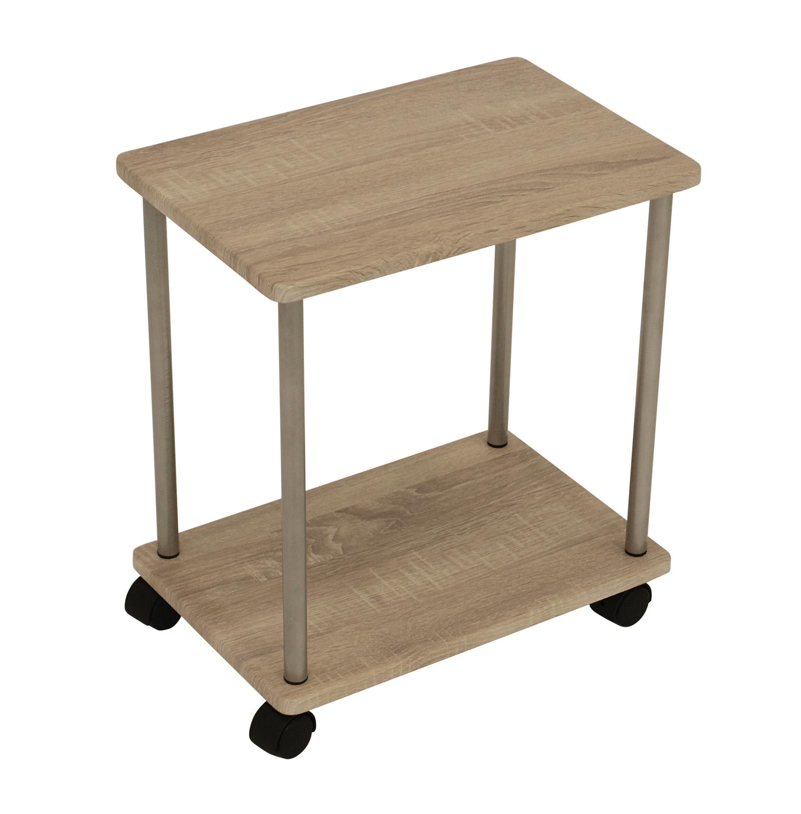 beistellwagen bonn mit rollen und zwei ebenen beistelltisch tisch wagen ablage ebay. Black Bedroom Furniture Sets. Home Design Ideas
