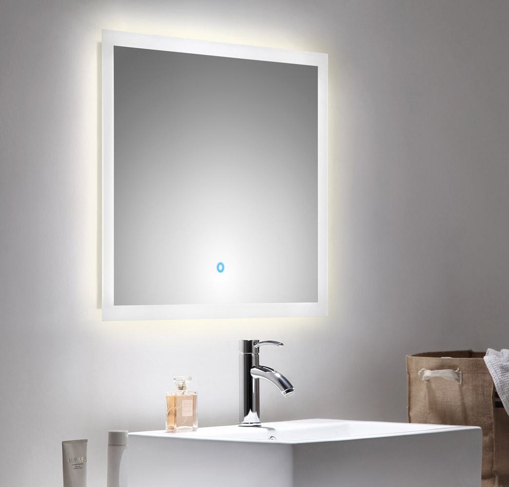 Details zu Spiegel Badezimmerspiegel Badspiegel LED-Spiegel LED 9x9 cm  Touchfunktion neu