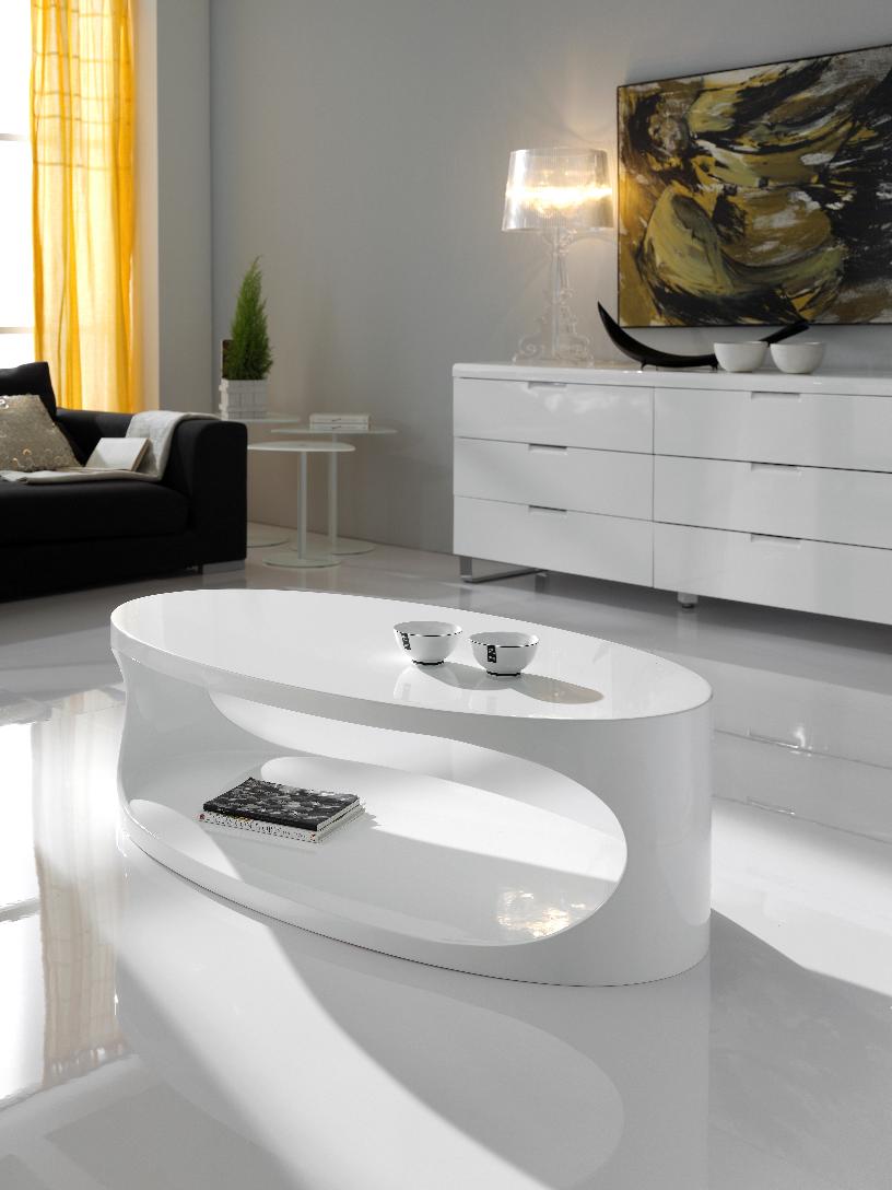Details zu CT-9 Dupen Design Couchtisch Hochglanz Weiß Beistelltisch  Wohnzimmer Tisch Neu
