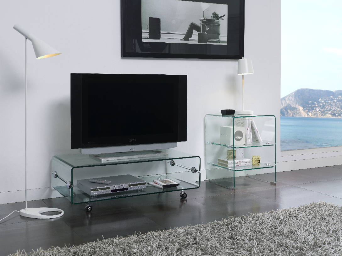 ct 220 dupen design tv tisch board rollen glas fernsehtisch lowboard hifi media ebay. Black Bedroom Furniture Sets. Home Design Ideas
