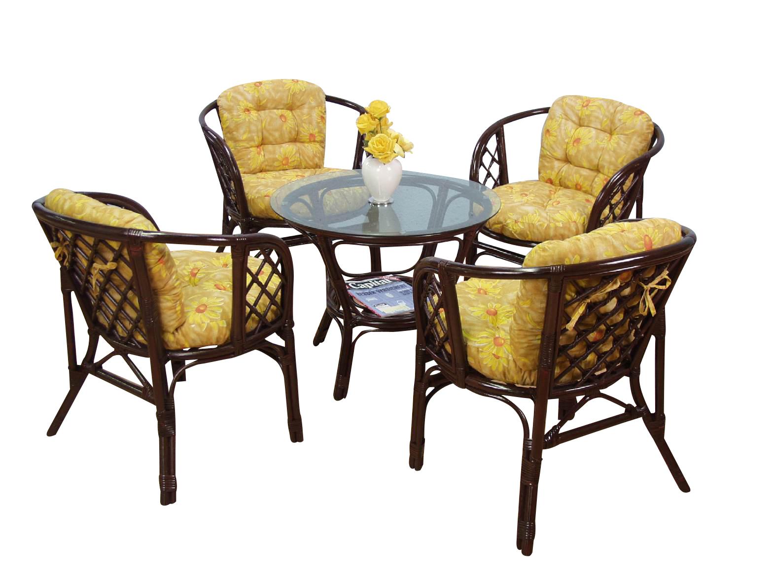 9091 rattangruppe 5teilig mit kissen hofmann rattanstuhl tisch in 3 farben ebay. Black Bedroom Furniture Sets. Home Design Ideas