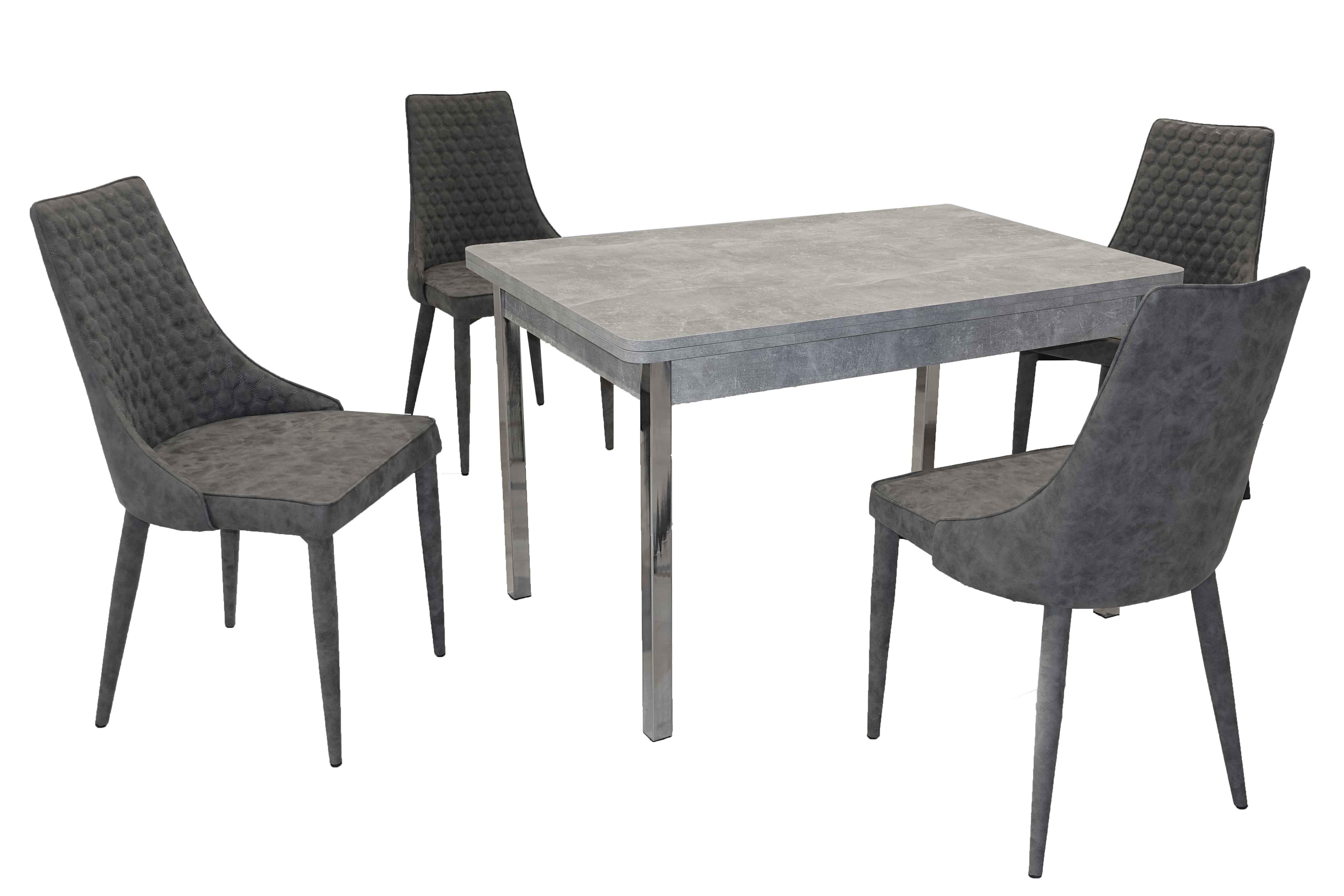 Details zu Tischgruppe Sitzgruppe Vicky Hermes 5 Esszimmerstühle Esstisch ausziehbar Beton